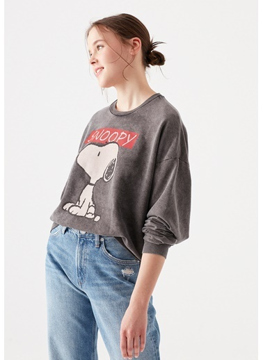 Mavi Snoopy Baskılı  Sweatshirt Gri